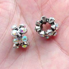 Pave Beads / Rhinestone Bead (2pcs / 12mm x 8mm / Silver & AB Clear) Bling Large Hole Bead Sparkle Ring Bead Fits European Bracelet CHM2043