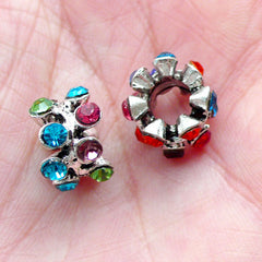 Colorful Rhinestone Pave Beads (2pcs / 12mm x 8mm / Silver) Sparkle Big Hole Bead Bling Bling Rondelle Bead Ring Bead European Bead CHM2045