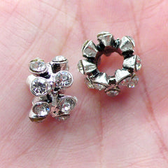 Rondelle Pave Beads (2pcs / 12mm x 8mm / Silver with Clear Rhinestones) Bling Bling Big Hole Bead Ring Bead Sparkle European Bead CHM2046