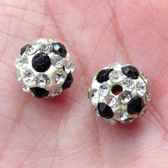 Disco Bead / Pave Bead / Crystal Clay Bead / Sparkle Ball Bead / Football Beads (2pcs / 10mm / White with Clear & Black Rhinestone) CHM2047