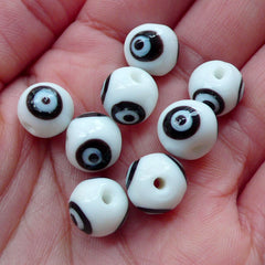 Evil Eye Lampwork Beads / Religion Glass Bead (8pcs / 10mm x 9mm / Black and White) Nazar Stink Eye Turkish Findings Small Hole Bead CHM2040