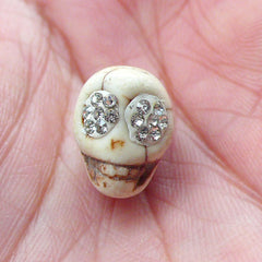 Skull Bead with Rhinestones (1 piece / 10mm x 13mm) Halloween Bead Spooky Bracelet Necklace Small Hole Vertical Bead Howlite Bead CHM2048