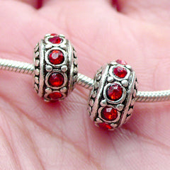 Rondel Bead with Rhinestones (2pcs / 11mm x 7mm / Tibetan Silver & Red) Large Hole Rondelle Bead Crystal Spacer Slider European Bead CHM2051