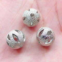 Silver Ball Bead / Hollow Bead (3pcs / 10mm) Small Hole Bead Loose Metal Bead Round Spacer Chunky Bracelet Necklace Earrings Jewelry CHM2053