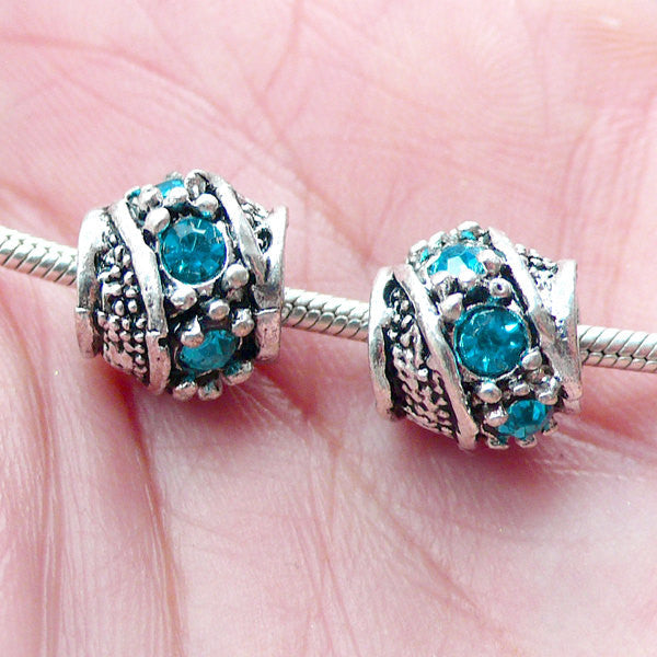 Barrel Beads w/ Rhinestones (2pcs / 10mm x 9mm / Tibetan Silver & Blue) European Bracelet Large Hole Bead Dreadlock Accessories CHM2055