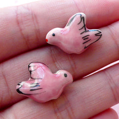 Bird Ceramic Beads / Porcelain Dove Bead (2pcs / 19mm x 14mm / Light Pink / 2 Sided) Animal Pendant Focal Bead Loose Bead Bird Charm CHM2066