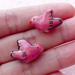 Dove Pottery Bead / Animal Ceramic Beads / Handpainted Porcelain Bead (2pcs / 19mm x 14mm / Dark Pink / 2 Sided) Bird Focal Bead CHM2068