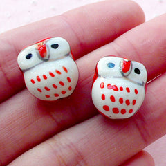 Owl Pottery Bead / Animal Porcelain Bead / Bird Ceramic Bead (2pcs / 14mm x 15mm / Red & White) Bracelet Earrings Necklace Making CHM2073