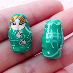 Russian Doll Ceramic Bead / Matryoshka Pottery Bead / Handpainted Porcelain Bead (2pcs / 12mm x 19mm / Green) Nesting Doll Bead CHM2074