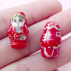 Matryoshka Ceramic Bead / Babushka Pottery Bead / Nesting Doll Porcelain Bead (2pcs / 12mm x 19mm / Red) Russian Doll Focal Bead CHM2076