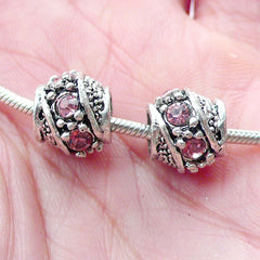 Barrel Rhinestones Beads (2pcs / 10mm x 9mm / Tibetan Silver & Pink) Bling European Bead Dreadlock Bead Bracelet Necklace Making CHM2056