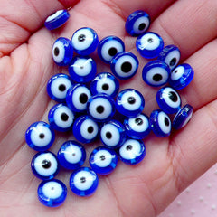 Evil Eye Plastic Beads / Religion Bead (30pcs / 8mm / Blue) Nazar Mati Judaism Protection Good Luck Turkish Findings Small Hole Bead CHM2058
