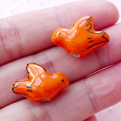 Ceramic Bird Beads / Dove Porcelain Bead (2pcs / 19mm x 14mm / Orange / 2 Sided) Focal Bead Handpainted Bead Animal Charm Pendant CHM2064