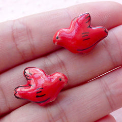Dove Ceramic Beads / Porcelain Bird Bead (2pcs / 19mm x 14mm / Red / 2 Sided) Animal Pottery Bead Focal Bead Bird Pendant Decoration CHM2067