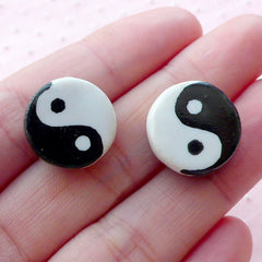 Yin Yang Ceramic Beads / Porcelain Bead (2pcs / 15mm x 8mm / Black & White / 2 Sided) Focal Bead Loose Bead Oriental Charm Pendant CHM2069