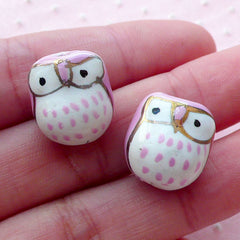 Owl Ceramic Bead / Animal Pottery Bead / Bird Porcelain Bead (2pcs / 14mm x 15mm / Light Purple & White) Handpainted Focal Bead CHM2072
