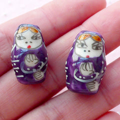 Babushka Ceramic Bead / Russian Doll Pottery Bead / Matryoshka Porcelain Bead (2pcs / 12mm x 19mm / Purple) Nesting Doll Focal Bead CHM2075