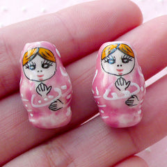 Nesting Doll Ceramic Bead / Babushka Pottery Bead / Russian Doll Porcelain Bead (2pcs / 12mm x 19mm / Pink) Matryoshka Focal Bead CHM2077