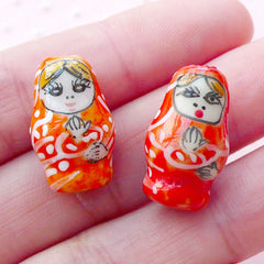 3D Russian Doll Porcelain Bead / Nesting Doll Pottery Bead / Matryoshka Ceramic Bead (2pcs / 12mm x 19mm / Orange) Babushka Bead CHM2078