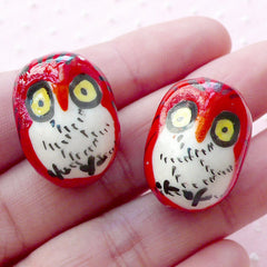 3D Owl Porcelain Bead / Ceramic Bead / Pottery Bead (2pcs / 17mm x 23mm / Red & White) Large Animal Focal Bead Big Bird Loose Bead CHM2079