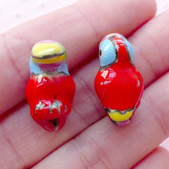 3D Toucan Ceramic Bead / Animal Porcelain Bead / Bird Pottery Bead (2pcs / 15mm x 22mm / Red) Handpainted Loose Bead Focal Bead CHM2081