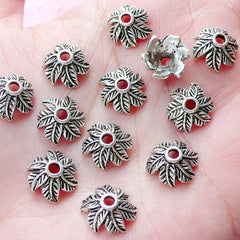 Leaf Bead Caps / Large Floral Caps (15pcs / 16mm / Tibetan Silver) Leaves Nature Jewelry Findings Earrings Necklace Bracelet Making F292
