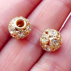 Rhinestone Ball Bead / Pave Bead (2pcs / 9mm x 8mm / Gold & Clear) Round Loose Bead Crystal Focal Bead Metal Bead Wedding Jewellery CHM2083