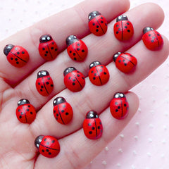 Mini Ladybug Wooden Cabochons (15pcs / 8mm x 11mm / Red & Black) Small Wood Ladybird Insect Scrapbooking Embellishment Card Making CAB443