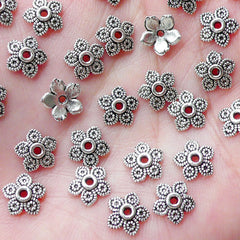 Flower Caps / Small Floral Bead Caps (50pcs / 8mm / Tibetan Silver) Nature Bead Supplies Earrings Necklace Bracelet Jewellery Making F293