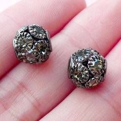 Crystal Ball Bead / Rhinestone Pave Bead (2pcs / 9mm x 8mm / Gunmetal) Bling Loose Bead Round Focal Bead Bracelet Necklace Earrings CHM2084