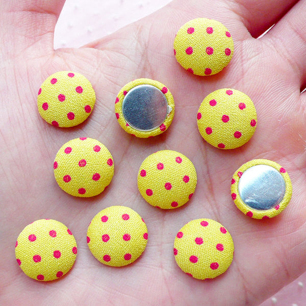 Polka Dot Button Cabochons (10pcs / 12mm / Yellow & Red / Flat Back) Round Fabric Button Hairpin DIY Scrapbooking Embellishment Deco CAB446