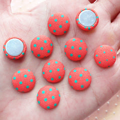 Round Fabric Button Cabochons (10pcs / 12mm / Pink Orange & Green Polka Dot / Flat Back) Hair Pin Making Scrapbook Embellishment CAB445