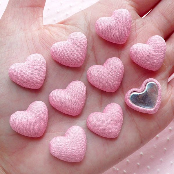 Heart Button Cabochons (10pcs / 17mm x 14mm / Pink / Flatback) Fabric Button Scrapbooking Wedding Decor Valentines Day Decoration CAB453