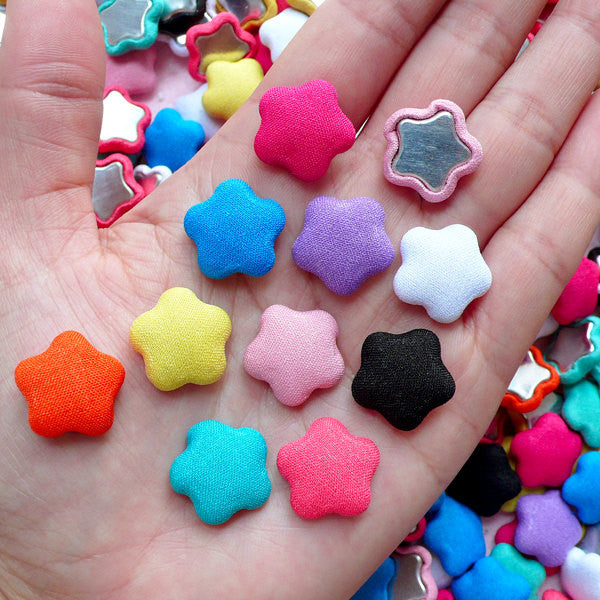 Colorful Star Button Cabochon Mix (10pcs / 16mm / Assorted Color / Flatback) Fabric Button Hair Accessories Making Party Decoration CAB455