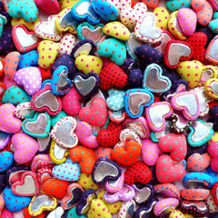Kawaii Heart Fabric Button Cabochon Mix in Polka Dot (10pcs / 17mm x 14mm / Assorted Color / Flat Back) Cute Card Making Scrapbooking CAB456