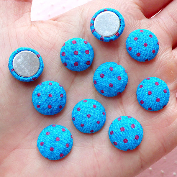Fabric Button Cabochons (10pcs / 12mm / Blue & Pink Polka Dot / Flat Back) Earrings Scrapbooking Embellishment Decoration Card Making CAB444