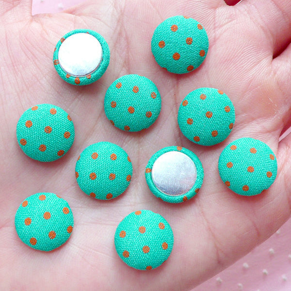 Polka Dot Fabric Button Cabochon (10pcs / 12mm / Teal Blue Green & Orange / Flatback) Hair Accessory DIY Button Decor Home Decoration CAB448