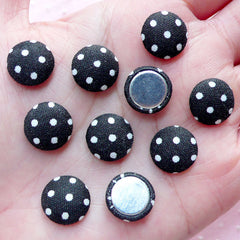 CLEARANCE Small Fabric Button Cabochon (10pcs / 12mm / Black & White Polka Dot / Flatback) Jewelry DIY Card Making Button Decor Home Decoration CAB449