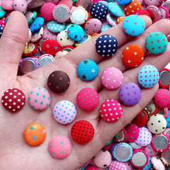 Assorted Polka Dot Fabric Button Cabochons (10pcs / 15mm / Colorful Mix / Flat Back) Button Decor Scrapbook Embellishment Decoration CAB451