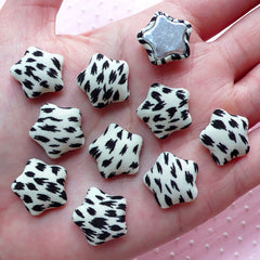 Star Fabric Button Cabochons in Leopard Pattern (10pcs / 16mm / Black & White / Flat Back) Scrapbooking Embellishment Home Decor CAB454