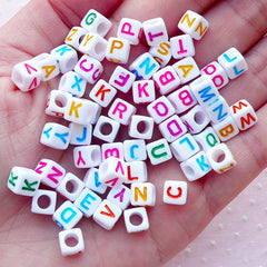 Alphabet Beads in Square Shape (You Pick Letters or We Pick By Random / 6mm / White & Colorful) Acrylic Bead Resin Cabochon Making CHM2087
