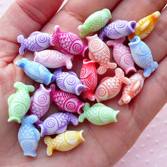 Fish Acrylic Beads with Antique Finish (9mm x 17mm / Assorted Color / 15pcs) Goldfish Marine Life Animal Focal Bead Etched Bead CHM2096