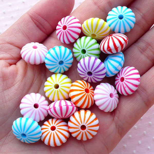 Acrylic Rondelle Beads with Stripe Line (14mm x 8mm / Assorted Pastel Color / 15pcs) Fluted Rondel Bead Colorful Chunky Necklace DIY CHM2097