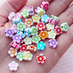 Tiny Acrylic Flower Beads / Mini Floral Acrylic Bead (9mm / Mixed Color / 40pcs) Small Hole Bead Spring Jewelry Bracelet Necklace CHM2101