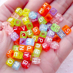Square Alphabet Beads / Cube Letter (You Pick Letters or We Pick By Random / 6mm / Transparent Candy Color) Name Bracelet Making CHM2088