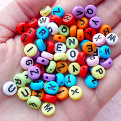 Round Alphabet Beads / Rondelle Pony Bead (You Pick Letters or We Pick By Random / 7mm / Colorful Mix) Message Name Neckalce Making CHM2089