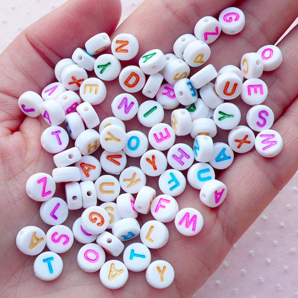 Kawaii Alphabet Beads / Rondelle Letter Bead (You Pick Letters or We Pick By Random / 7mm / White & Colorful) DIY Message Jewellery CHM2092