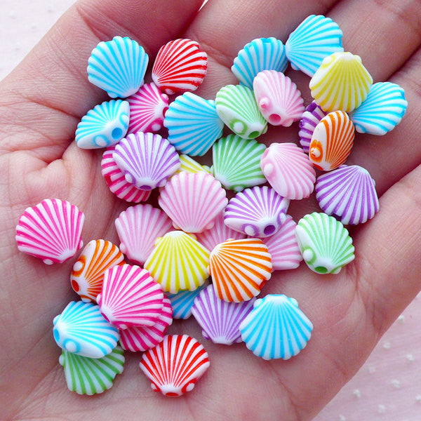 Fluted Sea Shell Beads / Etched Acrylic Bead (12mm x 10mm / Assorted Color Mix / 25pcs) Marine Life Beach Bead Kawaii Child Jewelry CHM2100