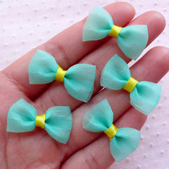 Small Tulle Bows / Mesh Fabric Bow Ties / Gauze Fabric Ribbon (5pcs / 28mm x 16mm / Green & Yellow) Fairy Kei Hair Accessories Making B001