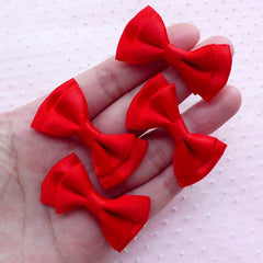 Red Satin Ribbon Bows / Double Bow Ties / Fabric Ribbon (4pcs / 43mm x 25mm / Red) Wedding Card Making Packaging Supplies DIY Hair Clip B007